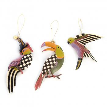 Елочные игрушки набор 3 шт.Paradise Bird Tin 35516-1128